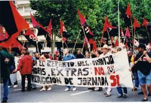 La CGT espagnole au sein du cortège noir et rouge contre le G7 à Lyon, en juin 1996